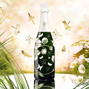 Belle Epoque Blanc 2007 shows one of the distinctive floral designs on the bottles that distinguishes Perrier-Jouet Belle Epoque Champagne