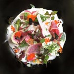 Radish salad with trout roe shiso heirloom tomato and buttermilk yuzu and whte soy dressing